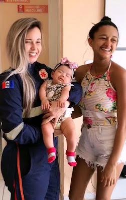Socorristas do Samu de São Sebastião/AL recebem visita especial após atender grávida que  caiu em uma cacimba