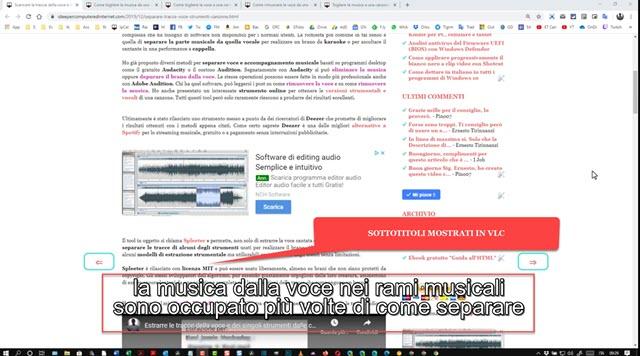 video riprodotto con sottotitoli anche con VLC