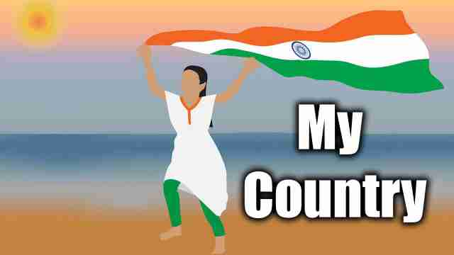 this is an image of girl holding a indian flag used for english essay on my country india