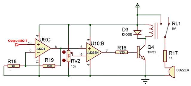 Implementasi Sensor Gas MQ-7 dengan sistem kendali ON/OFF