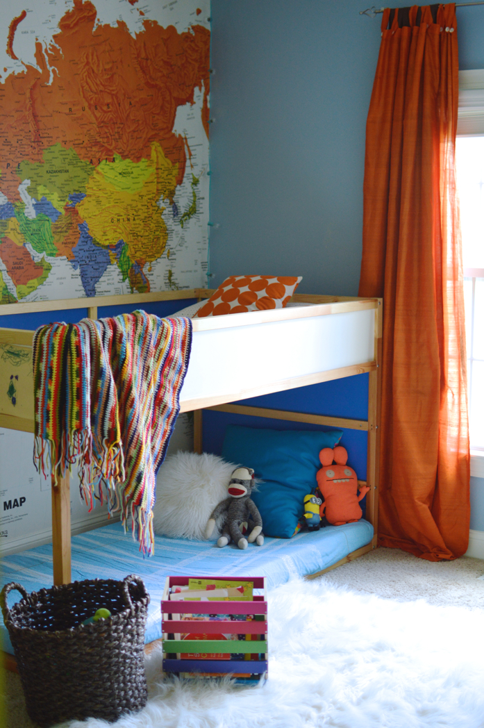 Fun and colorful room with map wall