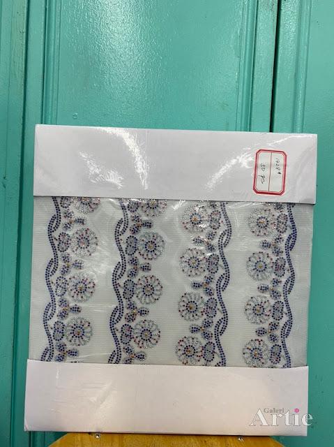 Pelekat hotfix sticker rhinestone DMC aplikasi tudung, bawal fabrik pakaian motif bunga besar kombo purple