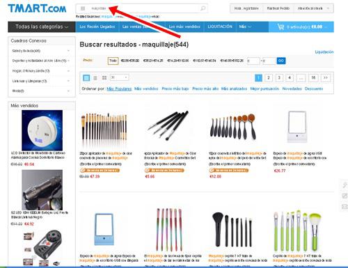sección de maquillaje en la web de Tmart