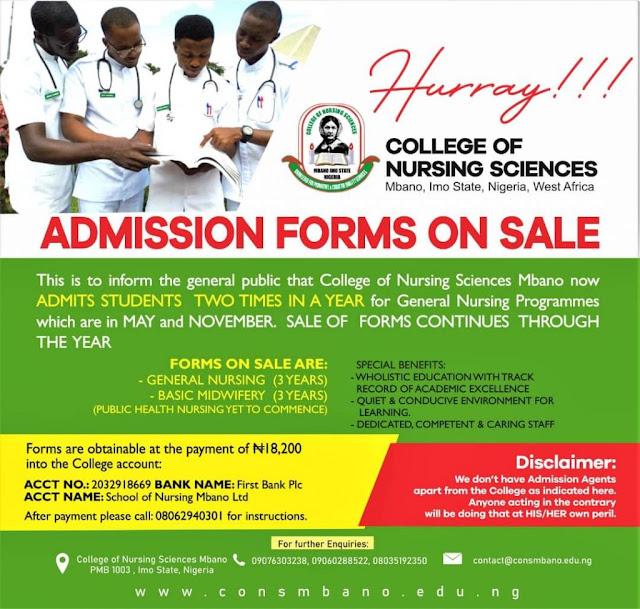 School of Nursing Mbano Admission Form 2020/2021