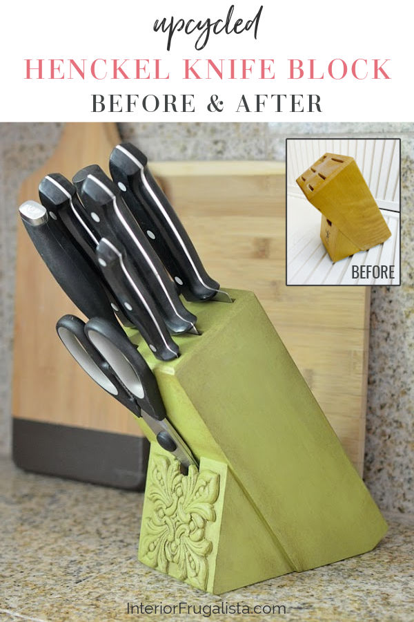 Upcycled Henckel Knife Block Before and After
