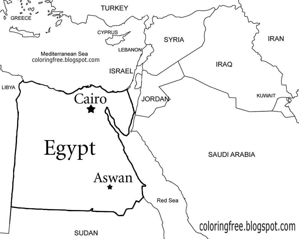 Egypt Map Coloring Page - Democraciaejustica