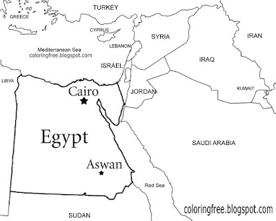 Printable Egyptian map representation country of Egypt Cairo coloring book pages for teenage artwork