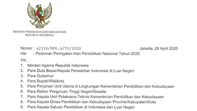 Surat Edaran Tema dan Logo peringatan Hari Pendidikan Nasional (Hardiknas) Tahun 2020