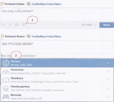 update status facebook disertai kegiatan yang sedang dilakukan