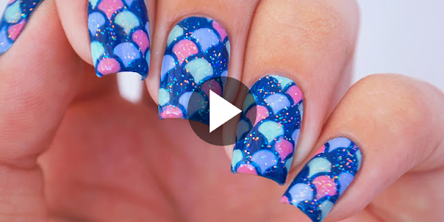 How To Create Reverse Stamping Hack Mermaid Nail Art - See Full Tutorial