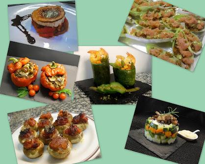 Aperitivos y entantes con vegetales y varios, 1 parte.