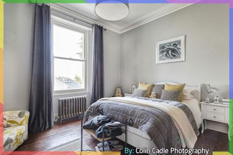 غرف نوم لون رمادي وابيض