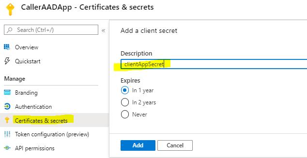 create client secret