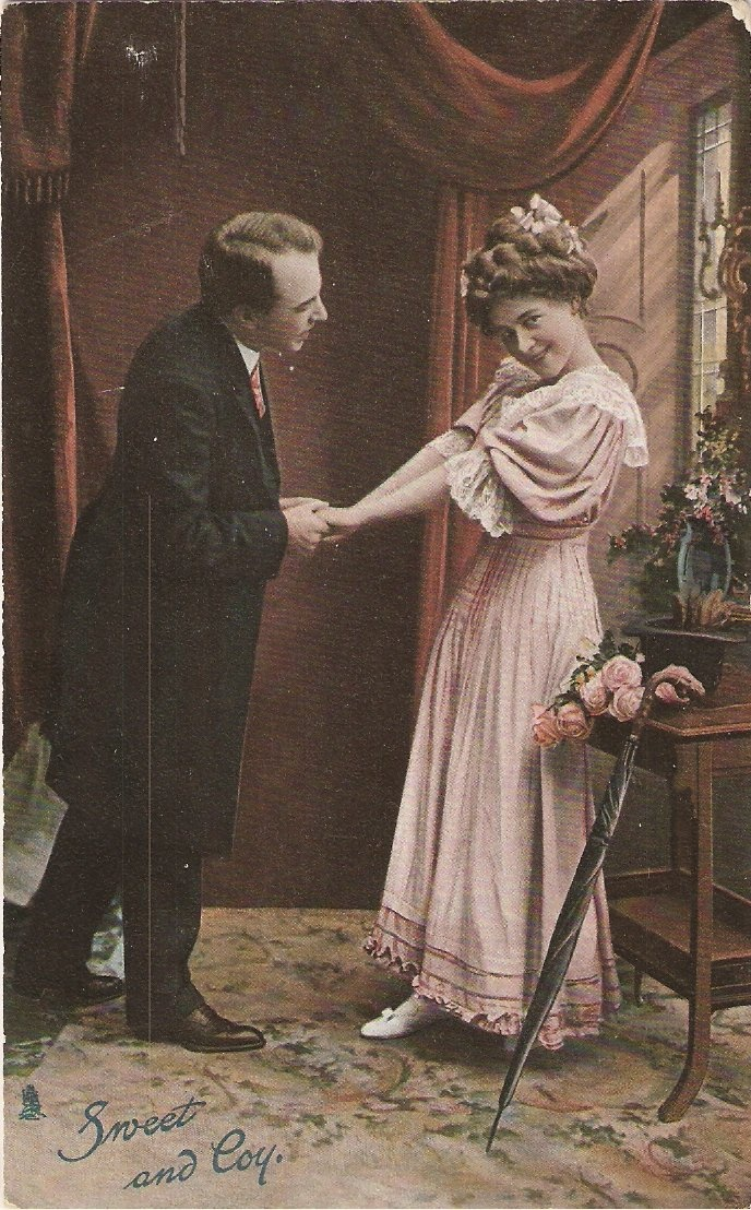 Beautiful girl in a pink dress. Sweet and coy, postcard c.1910 Frighten the Horses. marchmatron.com