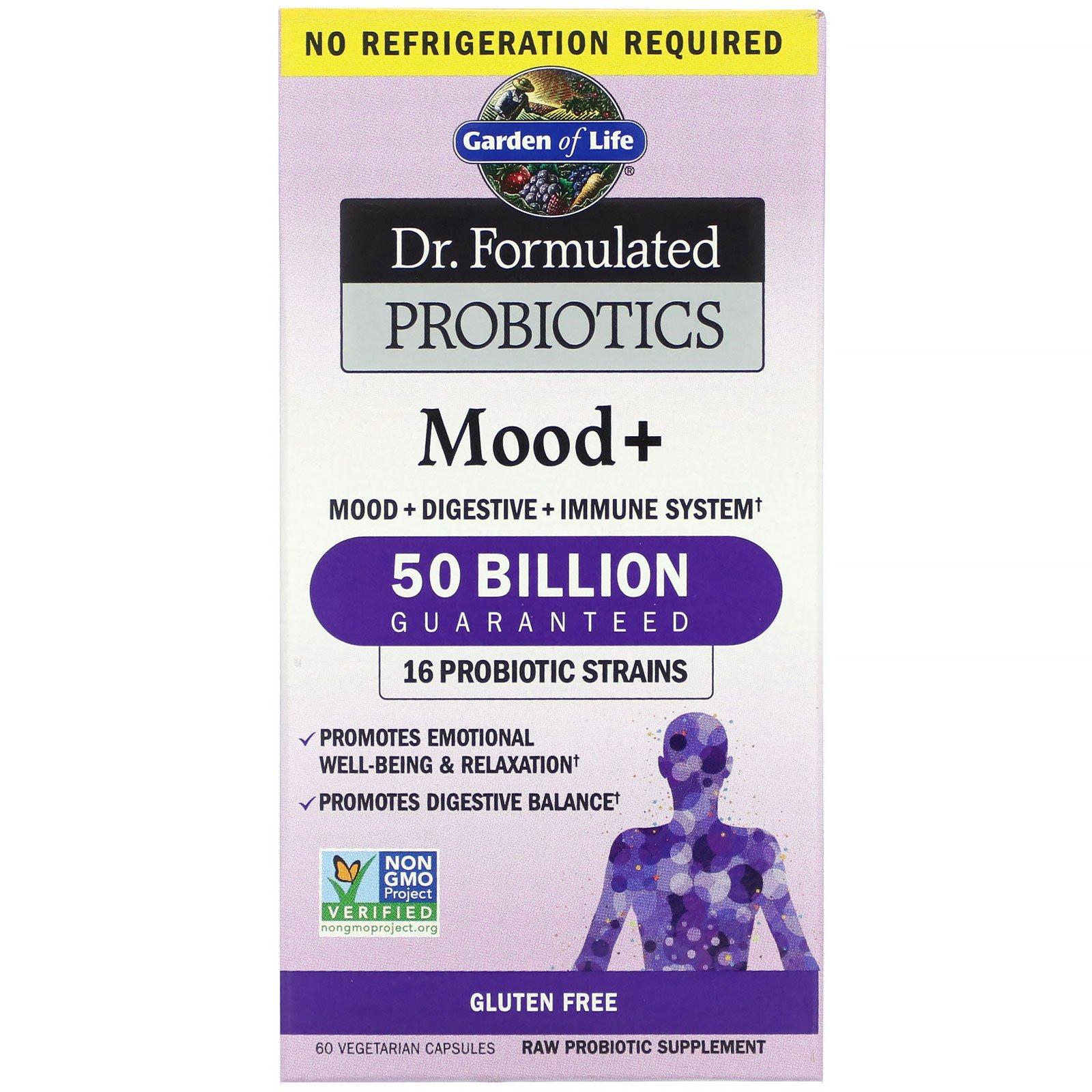 Garden of Life, Dr. Formulated Probiotics, пробиотики для улучшения настроения, 60 вегетарианских капсул