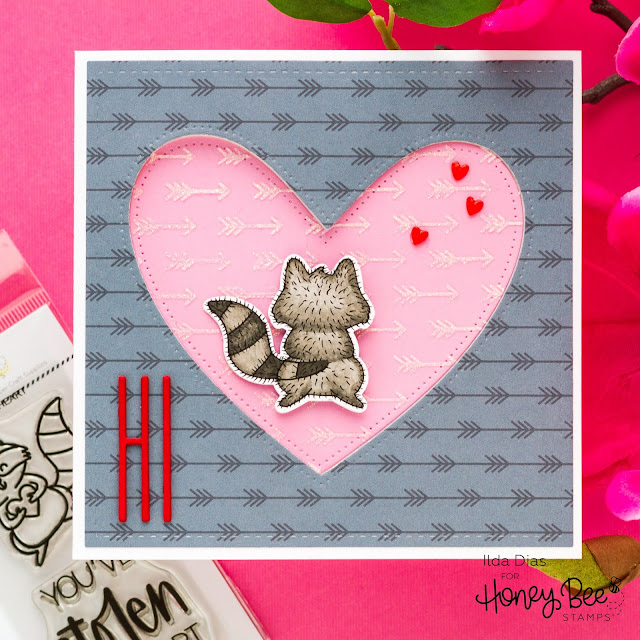 Stolen My Heart, Valentine's Day Card, Raccoon, Spinner Card, Honey Bee Stamps, Sneak Peeks, Love Letters, Card Making, Stamping, Die Cutting, handmade card, ilovedoingallthingscrafty, Stamps, how to,