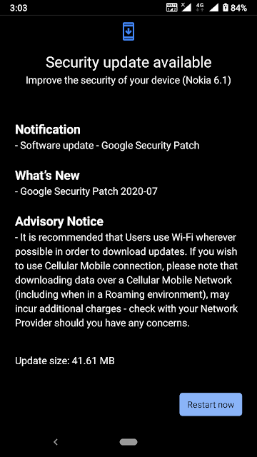 Nokia 6.1 receiving July 2020 Android Security patch