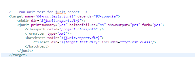 Normally I Run Unit Tests To Generate Meta Data Xml Files That Is Used To Compose Junit Report Html Here Is The Ant Task For That