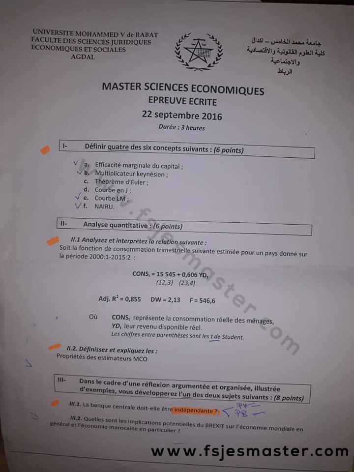 Exemple Concours Master Sciences Economiques 2016-2017 - Fsjes Agdal