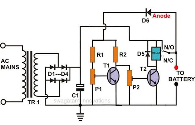 self regulating battery charger circuit lead acid