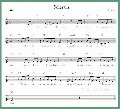 not balok lagu soleram