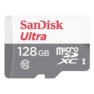 Cartão de Memória Micro SD Sandisk Ultra SDSQUNS-128G-GN6TA 128GB 80Mb/s - Preto