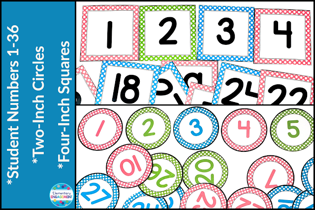 Fun classroom numbers in pink, turquoise, and lime green dots