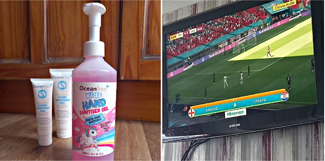 Hand sanitiser and the football on the TV