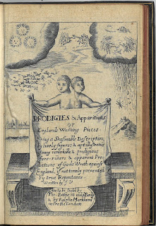 title page of Prodigies & Apparitions showing  conjoined wins holding a banner with the title on it. in the background is a depitciton of a battle in the heavens