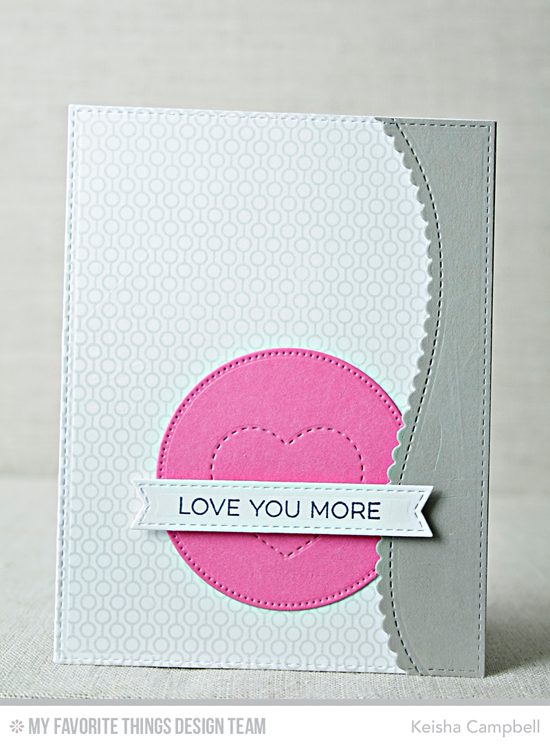 Handmade card from Keisha Campbell featuring Essential Sentiments stamp set, Mini Hexagon Background stamp, and Stitched Sentiments Strips, Stitched Scallop Basic Edges 2, Pierced Circle STAX, and Tag Builder Blueprints 3 Die-namics #mftstamps