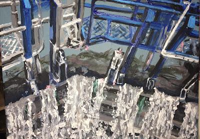 peinture sur les écluses à Béziers, oeuvre de Karine Babel