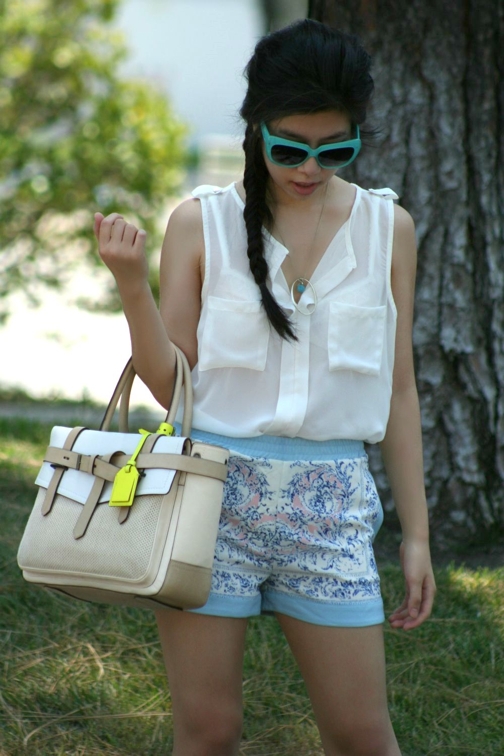 casual summer fashion - sheer white top and shorts with pockets