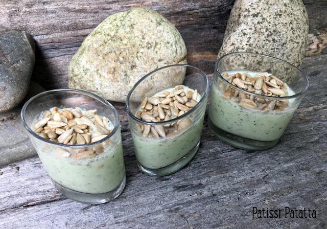 recette de crèmes de concombre et menthe, crèmes de concombre, verrines concombres et menthe, apéritif estival, entrée fraiche, recette simple, préparer des concombres, cuisiner des concombres, végétarien, patissi-patatta