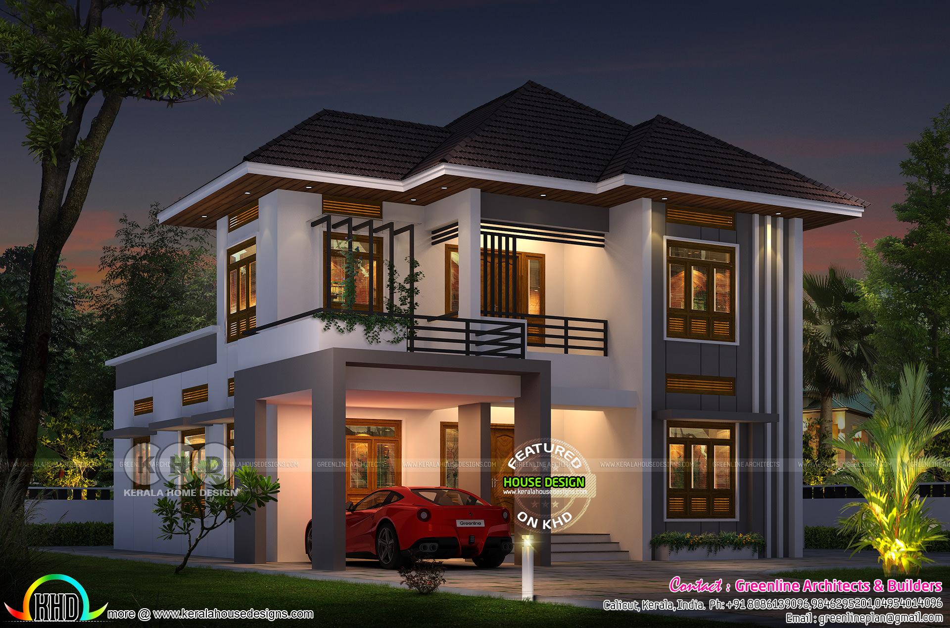 1820 Sq Ft Modern 4 Bedroom House Plan Kerala Home Design Bloglovin