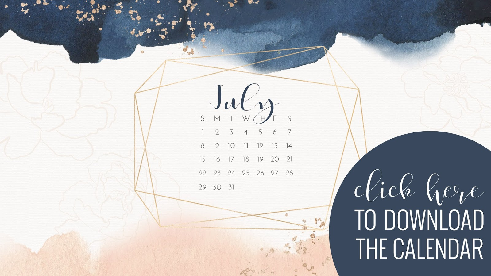 • July 2019 • Computer Desktop Calendar Background and matching iPhone Backgrounds