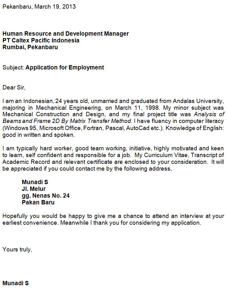 cara menulis application letter dalam bahasa inggris - 28
