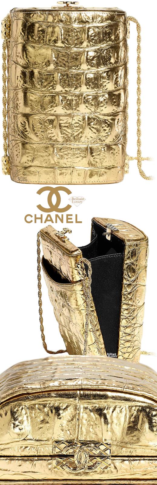 Brilliant Luxury♦Chanel Metallic Crocodile Embossed Calfskin Evening Bag #gold