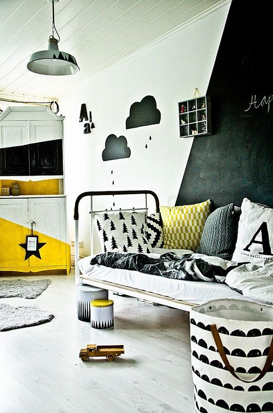 Inspirational kids room with blackboard in black, white and yellow