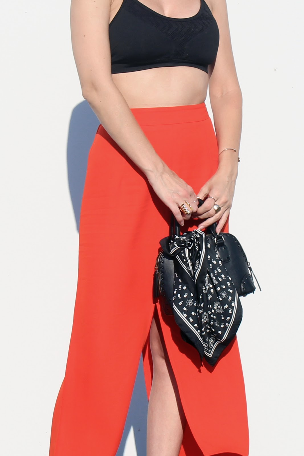 midi skirt, mini bag, orange skirt