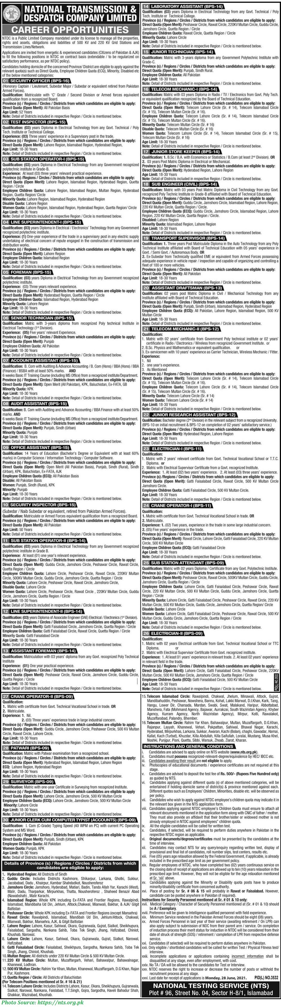 WAPDA Jobs 2021 - Latest Jobs in National Transmission and Despatch Company Limited Latest NTS Jobs 2021