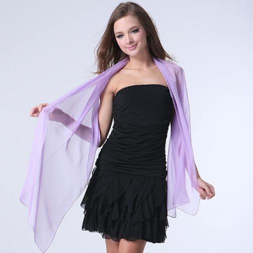 Purple Long Chiffon Scarves Shawls