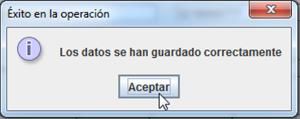 Clic en el botón aceptar del JOptionPane