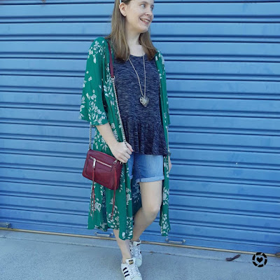 awayfromblue Instagram | jeanswest delilah green floral duster kimono with peplum tee denim shorts burgundy bag subtle festive outfit for summer