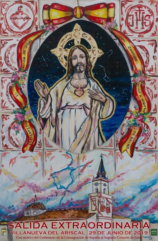 Cartel de la Salida Extraordinaria del Sagrado Corazón de Jesús de Villanueva del Ariscal (Sevilla)