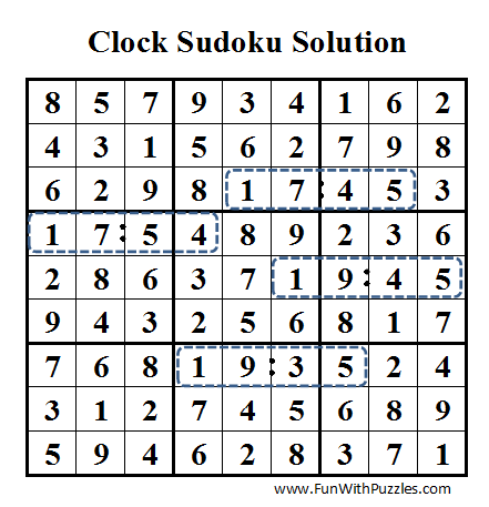 Clock Sudoku (Daily Sudoku League #41) Solution