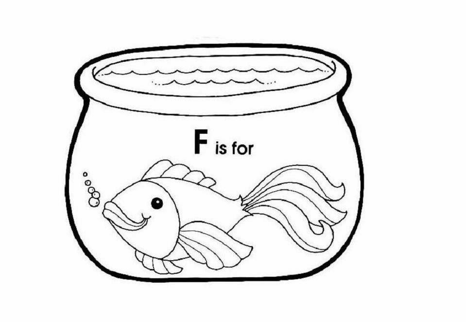 is for fish in fish bowl coloring page jpg