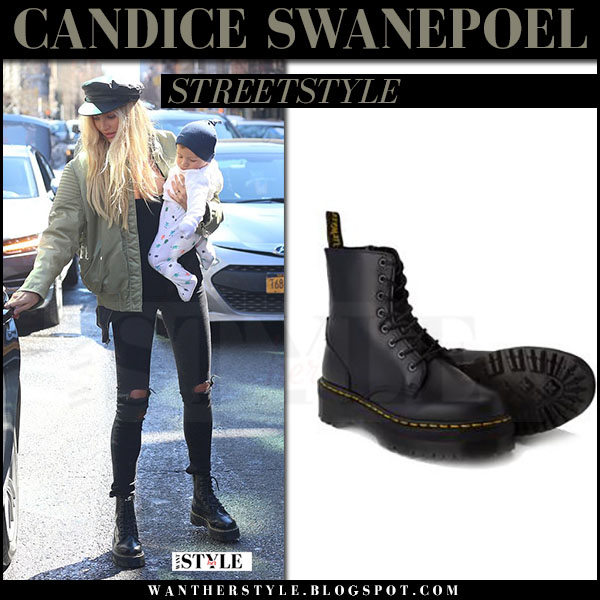 Candice Swanepoel in black lace up ankle boots dr martens jadon and green bomber jacket what she wore march 2017