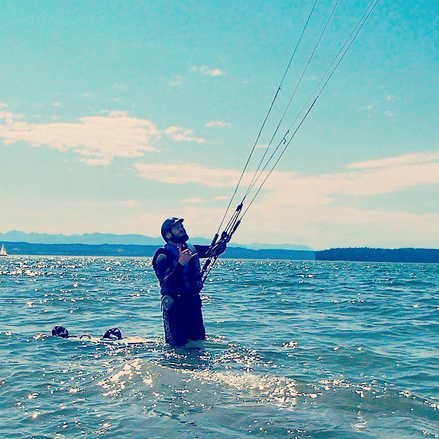 Kiteboarding At Jetty Island In Everett, Wa