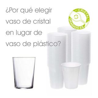 Vasos de cristal frente a vasos de plástico