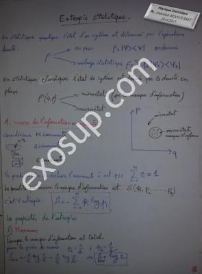 cours physique statistique 1 entropie statistique et distribution de Boltzmann-Gibbs smp s5 FSR